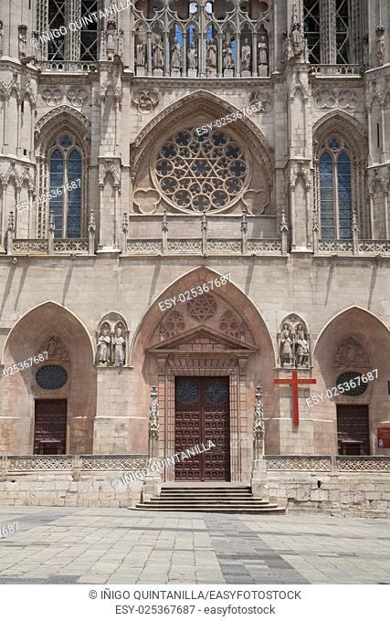 facade door landmark of famous gothic catholic cathedral St Mary or Santa Maria, religious monument made in XIII Century, in Burgos city, in Castile and Leon