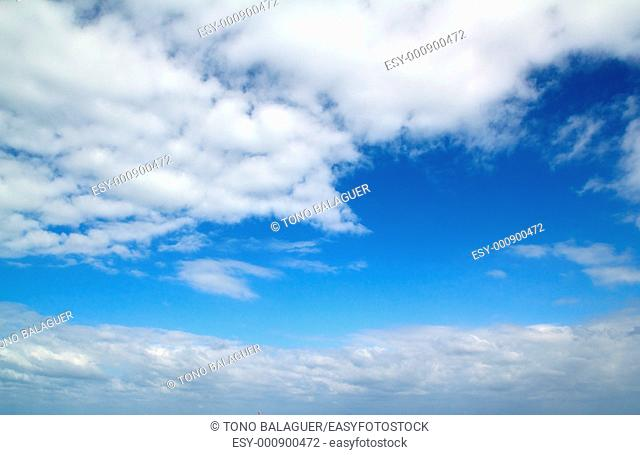 blue beautiful sky sunny day with white clouds