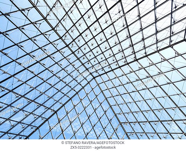 Glass ceiling of Louvre Pyramid - Paris, France