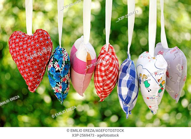 Homemade heart clothes hanging