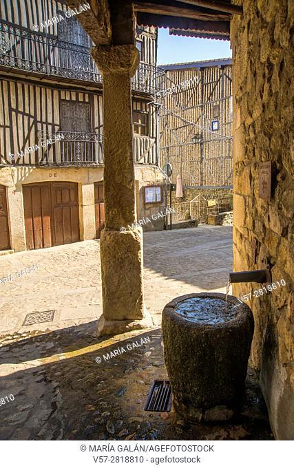 Fountain in the street. Mogarraz, Sierra de Francia Nature Reserve, Salamanca province, Castilla Leon, Spain