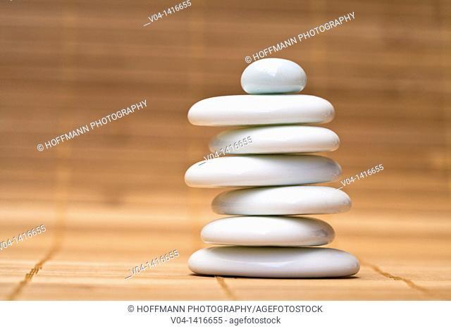 Stack of balanced white pebbles