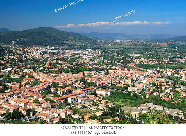Aerial view of the Provence village of Sollies Pont, Var, 83, PACA, France, Europe