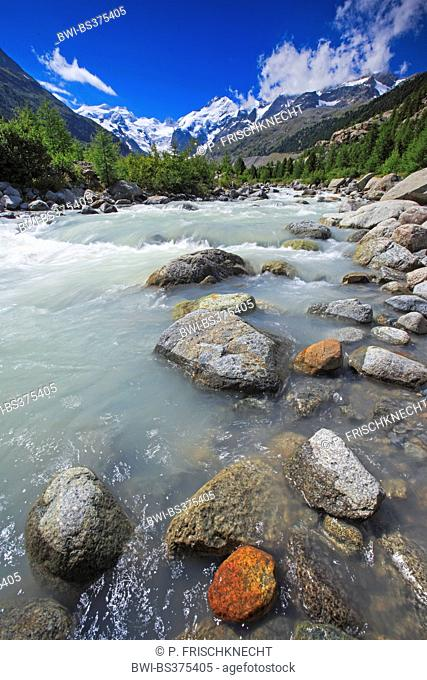 river at the Morteratsch Valley with Piz Palue, 3905 m, Piz Bernina, 4049 m, Biancograt and Morteratsch Glacier, Switzerland, Grisons, Engadine