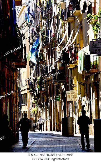 Street, balconies. Raval district, Barcelona, Catalonia, Spain