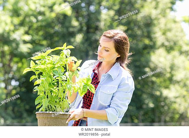 A young woman standing in a garden tending a plant in a pot