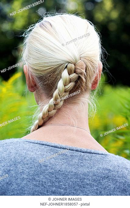 Close-up of womans braid