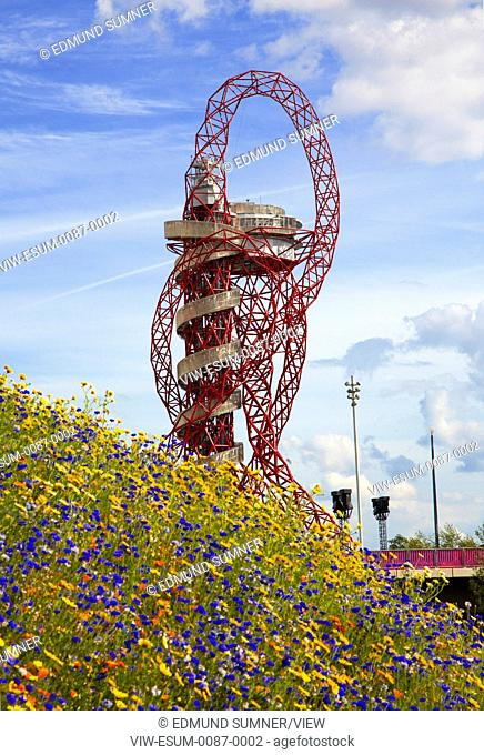 The ArcelorMittal Orbit is a 115-metre-high 377 ft sculpture and observation tower in the Olympic Park in Stratford, London. I