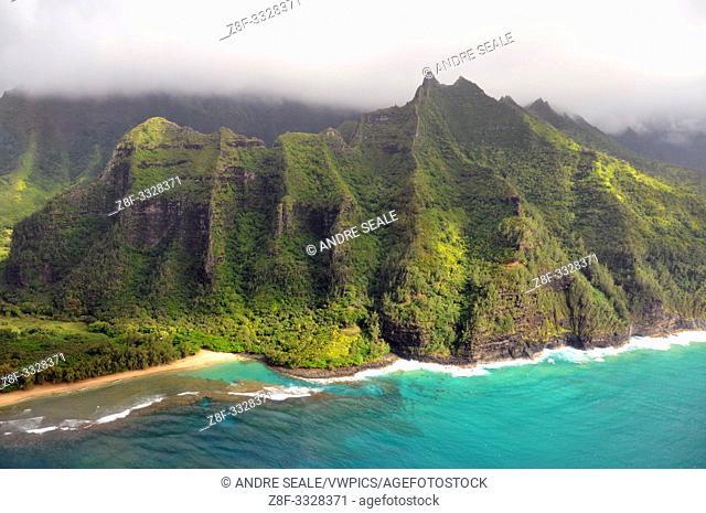 Aerial view of Kee beach, Kauai, Hawaii, USA