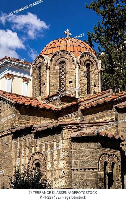 The Byzantine Church of Panaghia Kapnikarea in Athens, Greece, Europe