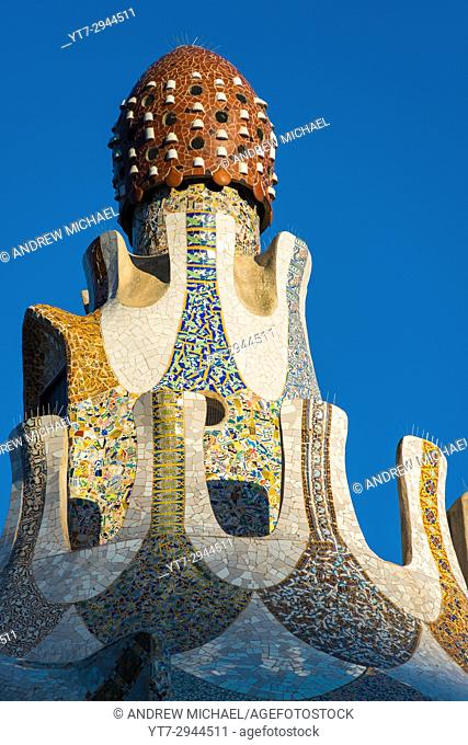 Closeup detail of one of the two Houses at the entrance to Park Güell, designed by Antoni Gaudi. Barcelona, Spain