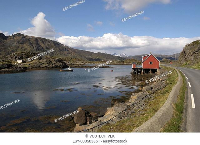 The beautiful scenery with seacoast in Norge
