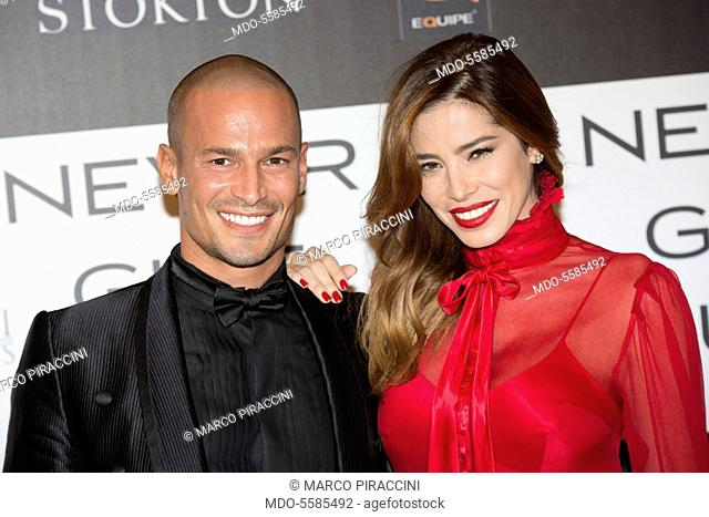 The showgirl Aida Yèspica and the entrepreneur Enrico Romeo attending the charity gala Never Give Up at The Westin Palace of Milan. Milan, Italy
