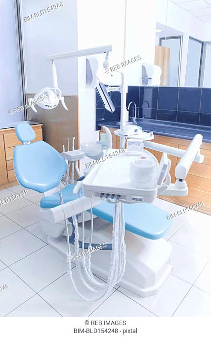 Chair and medical equipment in office of dentist
