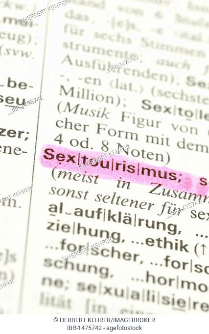 Dictionary entry, Sextourismus, German for sex tourism