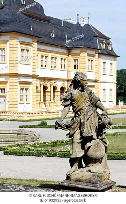 Sculpture on the castle terraces, Rococo Gardens, Schloss Veitshoechheim Castle, Lower Franconia, Bavaria, Germany, Europe