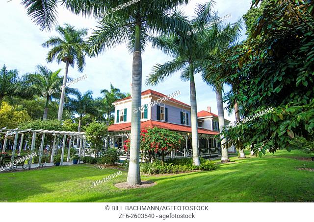 Thomas Edison inventor home and museum in Ft Myers Florida exterior of Main House with palm trees and grounds
