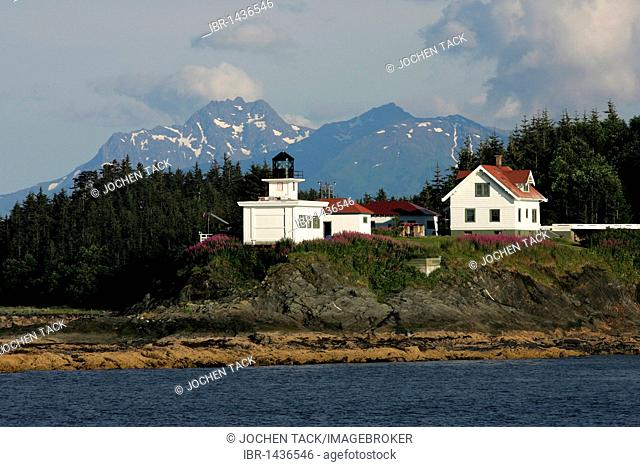 Point Retreat Lighthouse on Admiralty Island, Lynn Channel, Inside Passage, Alaska, USA