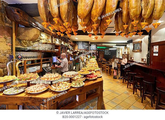 Ham, Pintxos, Bar Taberna Aralar, Parte Vieja, Old Town, Donostia, San Sebastian, Gipuzkoa, Basque Country, Spain