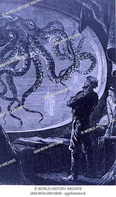 Engraving depicting Captain Nemo observing a giant octopus, from Jules Verne's '20,000 Leagues under the Sea.' Dated 19th Century