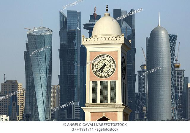 Futuristic skyscrapers in Doha skyline, Qatar