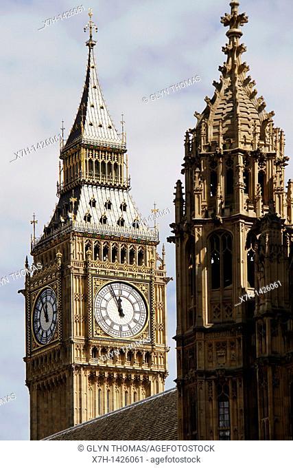 Big Ben clock tower, Houses of Parliament, London, England
