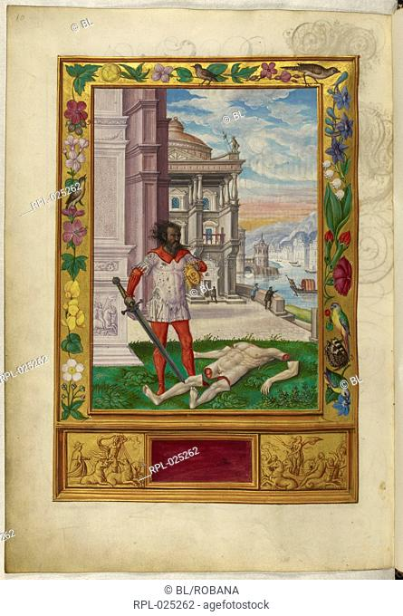 Man with decapitated corpse, Whole folio Illustration of the Sixth Parable, a dishevelled man holding a golden head, the dismembered corpse at his feet