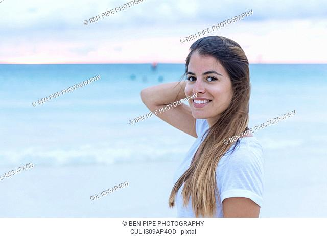 Portrait of young woman at white beach, Boracay Island, Visayas, Philippines