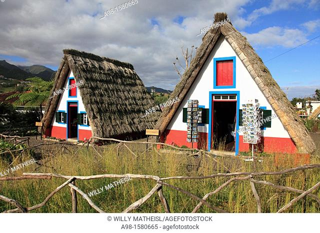 Traditional A-framed Houses at Santana, Madeira, Portugal, Europe