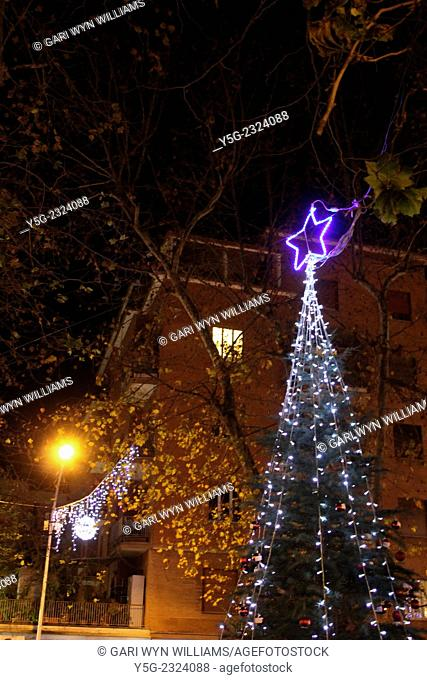Rome Italy. 17th December 2014 Christmas lights and decorations in Piazza Carlo Albero Scotti in the Monteverde district of Rome Italy