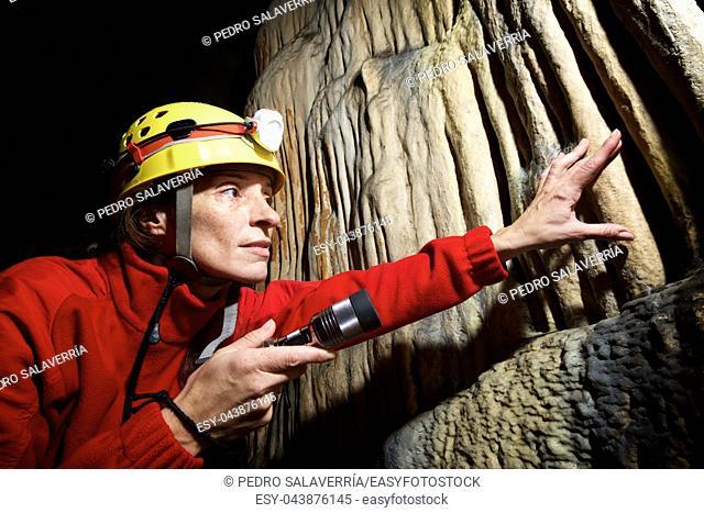 Caving in Hermosa Cave, Zaragoza Province, Aragon, Spain