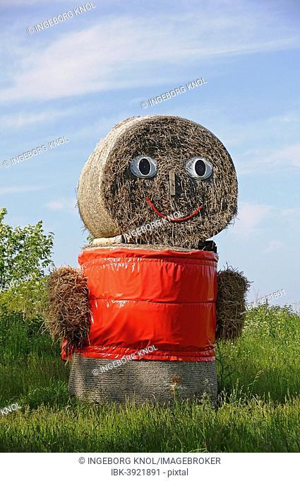 Straw doll made of straw bales, Mecklenburg-Western Pomerania, Germany
