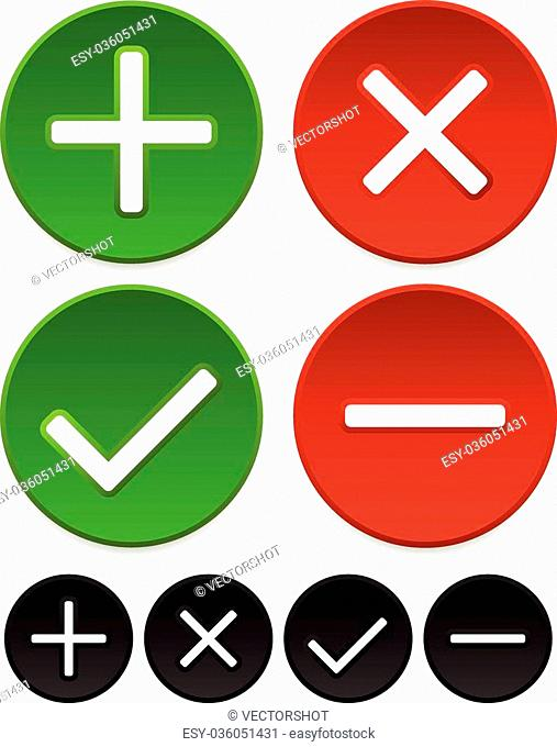 Plus, minus, checkmark and cross graphics