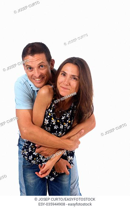 loving couple with white background