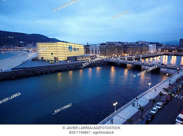 La Zurriola beach, Urumea river and Kursaal Palace, San Sebastian, Guipuzcoa, Basque Country, Spain