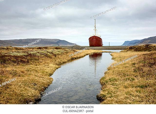 Beached steel ship, Gardar BA 64, Latrabjarg Peninsula, Westfjords, Iceland