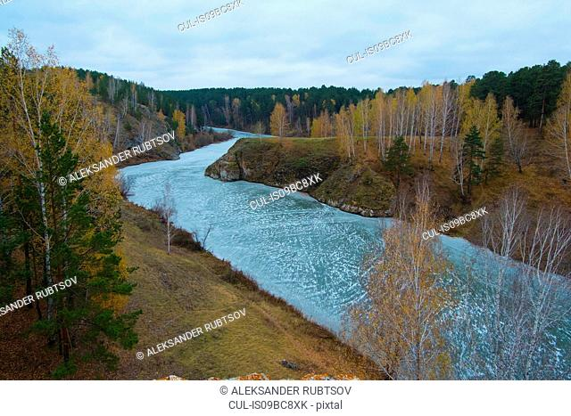 Autumn landscape with forests and river, Kislokan, Evenk, Russia