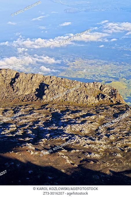 Pit crater rim of Pico Alto on the summit of Pico, Pico Island, Azores, Portugal