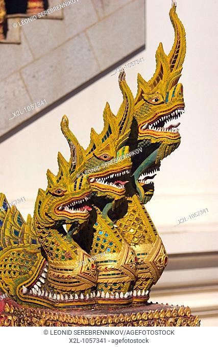 Naga figures  Staircase decoration in Wat Bupparam  Chiang Mai, Thailand