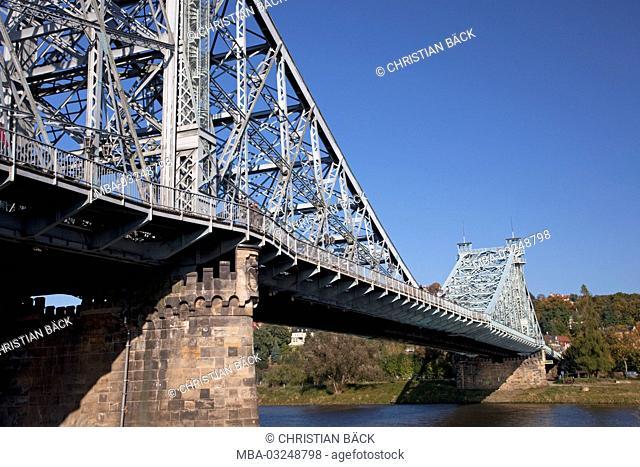 The Elbe bridge 'Blaues Wunder' (nasty surprise) between Blasewitz and Loschwitz, Dresden, Saxony, Germany