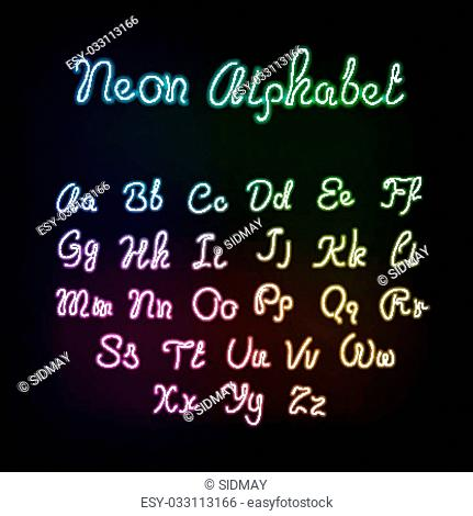 Neon rainbow color glow alphabet., vector realistic color dodge letters