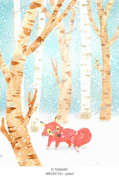 Fox in snowy woods in illustration