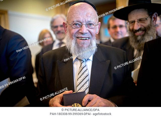 08 March 2018, Germany, Berlin: Rabbi Dayan Chanoch Ehrentreu smiles after being awarded the Order of Merit of the Federal Republic of Germany by German Foreign...