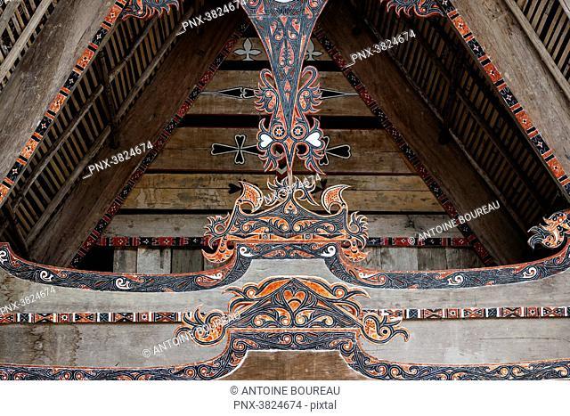 Detaif of a traditional house Batak on the Tuk Tuk peninsula of Pulau island Samosir, Lake Toba