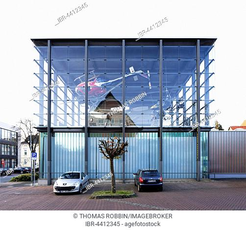 Helicopter museum, glass cube built in 2011, Bückeburg, Schaumburg, Lower Saxony, Germany