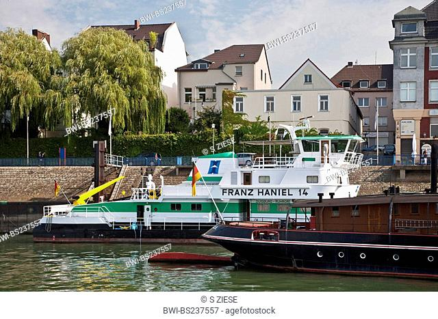 the ships Oscar Huber and Franz Haniel in the district Ruhrort, Germany, North Rhine-Westphalia, Ruhr Area, Duisburg
