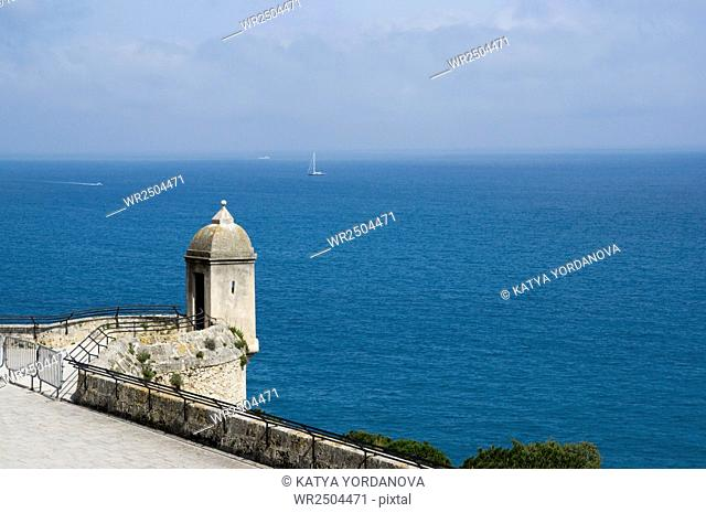 Monaco coast, Tower on the waterfront of the Prince's Palace, Cote d'Azur