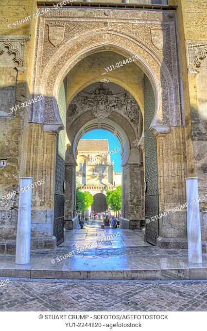 HDR of the Doorway to the Mosque–Cathedral of Córdoba, Córdoba, Andalusia, Spain, Europe