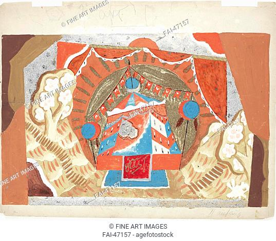 Stage design for the opera The Golden Cockerel by N. Rimsky-Korsakov by Chelishchev (Tchelitchew), Pavel Fyodorovich (1898-1957)/Mixed media on board/Theatrical...