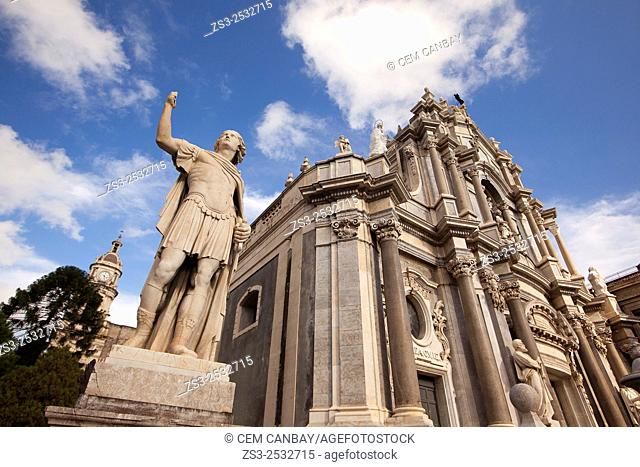 Statues and Saint Agata Cathedral at piazza del Duomo, Catania, Sicily, Italy, Europe